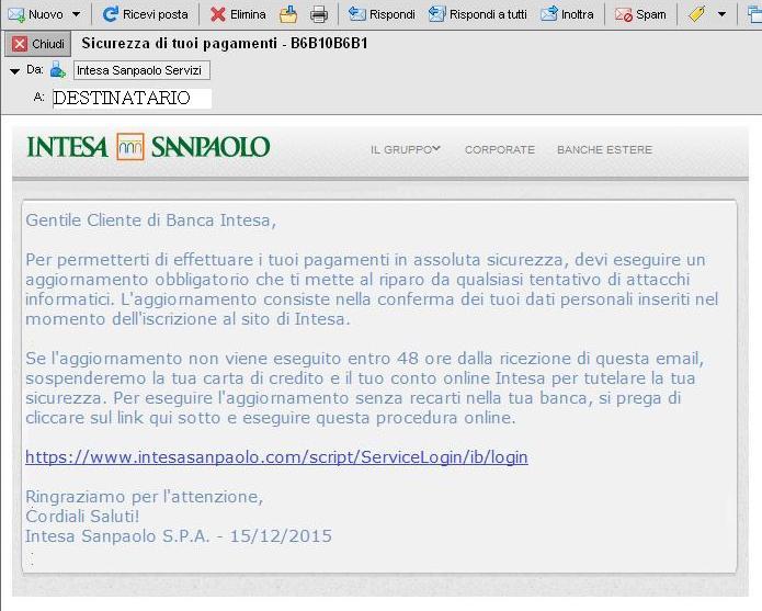 Clicca per ingrandire l'immagine della Falsa e-mail INTESA SANPAOLO che cerca di rubare i dati della carta di credito