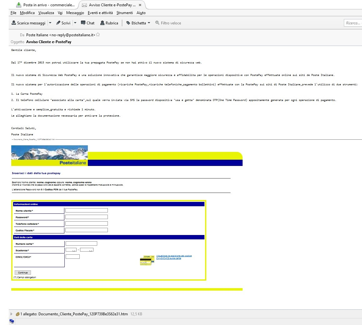 Clicca per ingrandire l'immagine della Falsa e-mail Poste Pay che cerca di rubare i dati della carta di credito