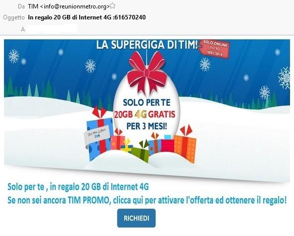 Clicca per ingrandire l'immagine della Falsa e-mail TIM che cerca di rubare i dati della carta di credito