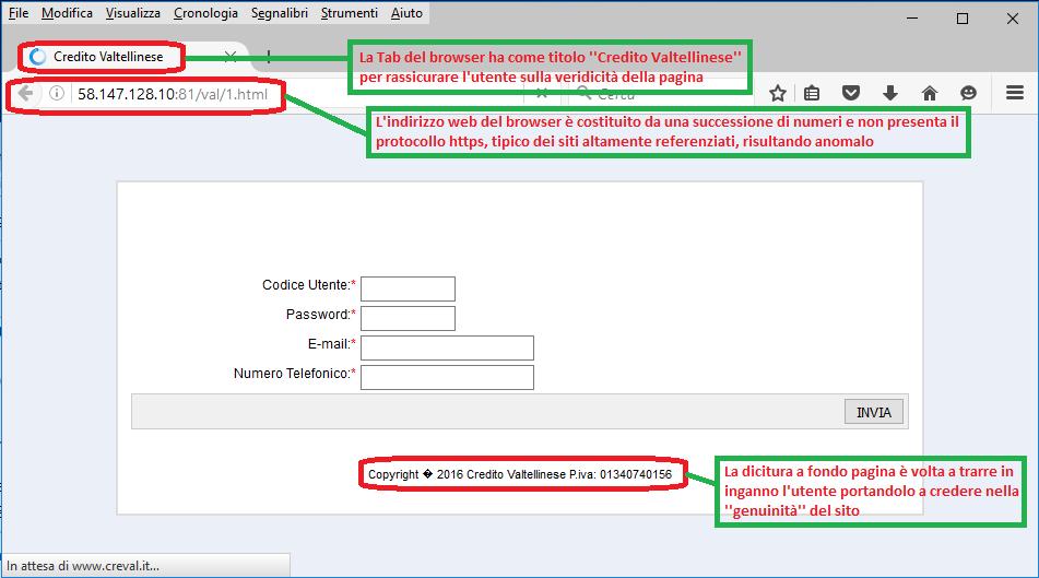 Clicca per ingrandire l'immagine della FALSA pagina di verifica dei dati di accesso al proprio accounto di home banking del Credito Valtellinese