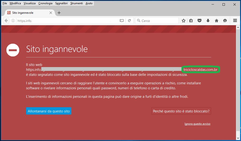 Clicca per ingrandire l'immagine della finestra di Alert di Mozilla Firefox di un Sito segnalato come INGANNEVOLE