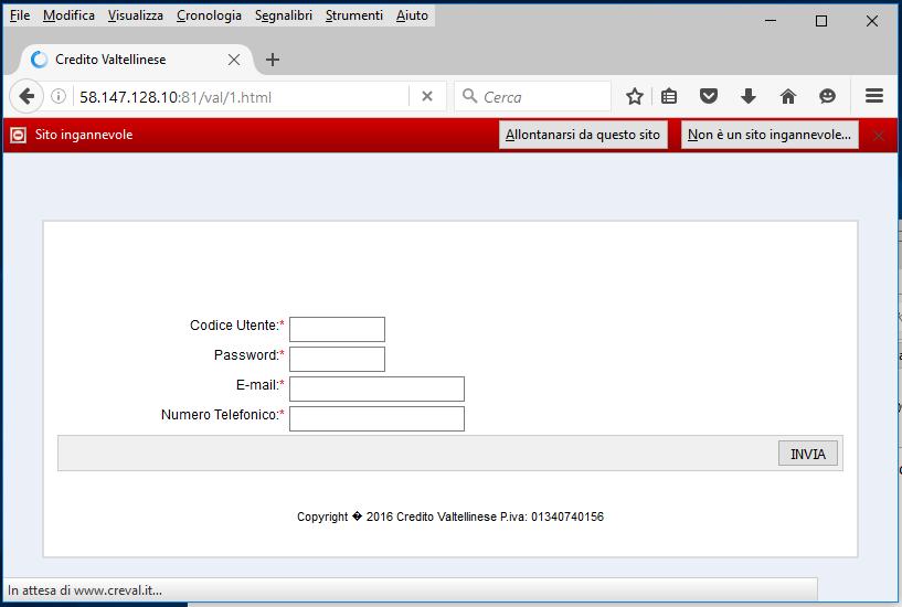 Clicca per ingrandire l'immagine della FALSA pagina di verifica dei dati di accesso al proprio account home banking del Credito Valtellinese