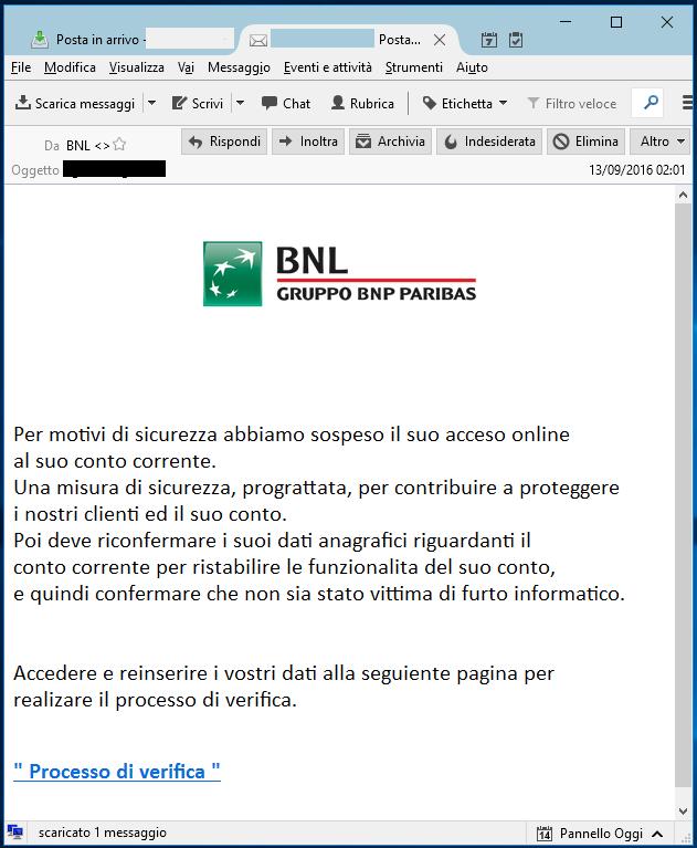 Clicca per ingrandire l'immagine della falsa e-mail di BNL Gruppo BNP PARIBAS, che cerca di indurre il ricevente a cliccre su un link per rubare le credenziali del Conto Corrente