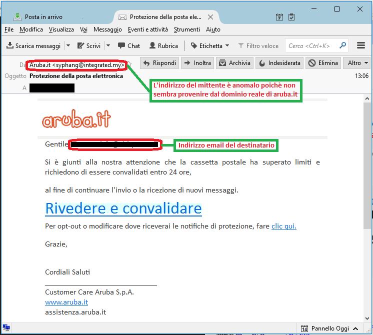 Clicca per ingrandire l'immagine della falsa e-mail di ARUBA, che cerca di indurre il ricevente a cliccare sui link per rubare le credenziali dell'Account di Posta Elettronica