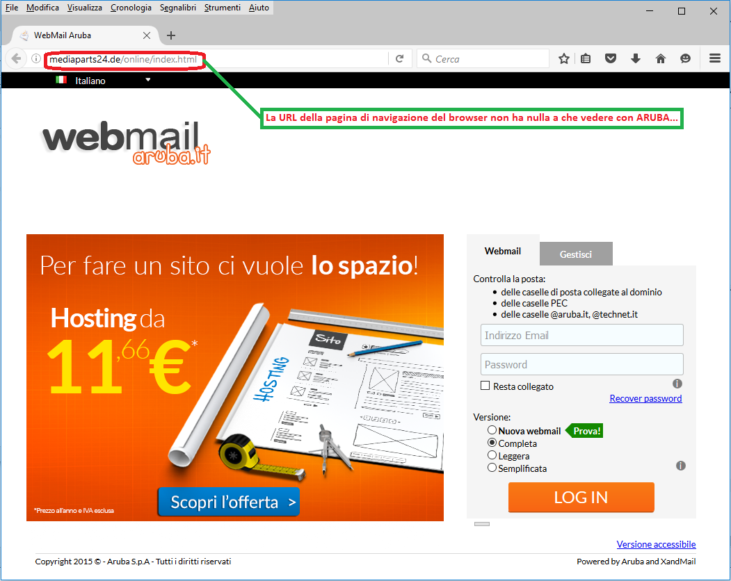 Clicca per ingrandire l'immagine della falsa e-mail simil aruba.it che cerca di rubare le credenziali di accesso all'account di posta elettronica