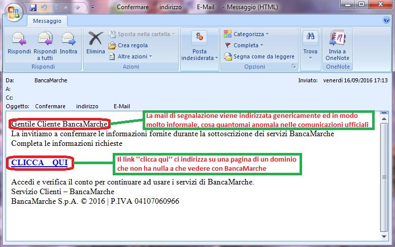 Clicca per ingrandire l'immagine della falsa e-mail di BancaMarche, che cerca di indurre il ricevente a cliccare sui link per rubare le credenziali di accesso all'Home Banking