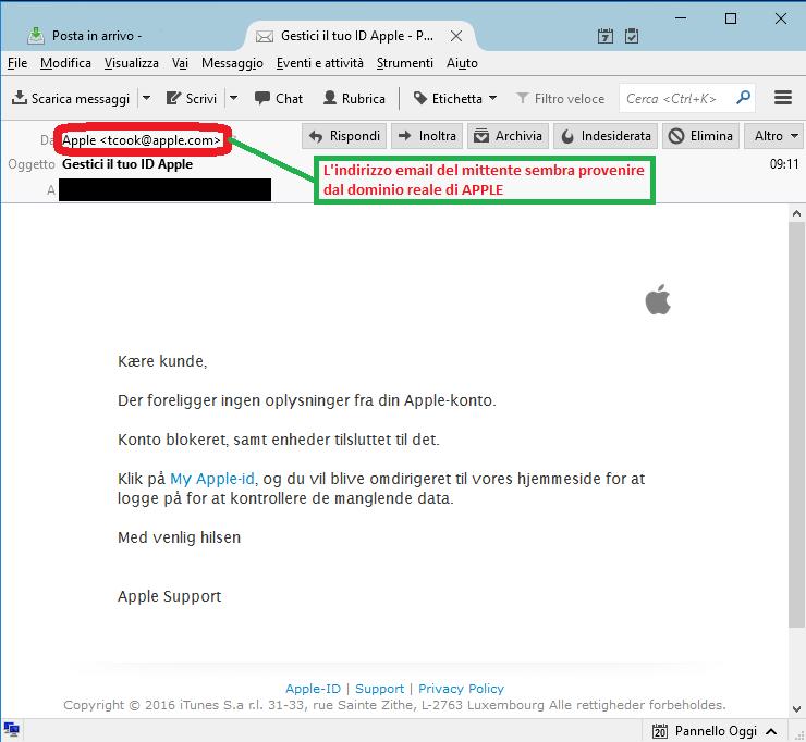 Clicca per ingrandire l'immagine della falsa e-mail di APPLE, che cerca di indurre il ricevente a cliccare sui link per rubare le credenziali di accesso a ITunes Apple