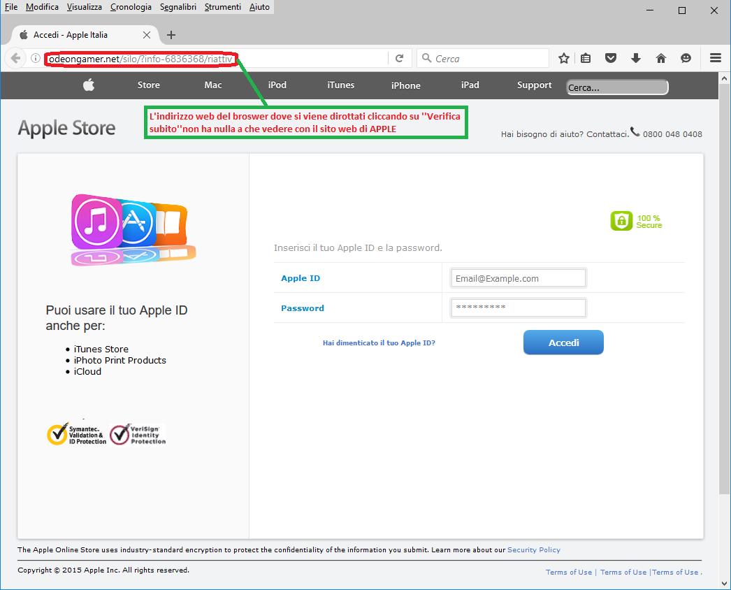 Clicca per ingrandire l'immagine della falsa e-mail di APPLE, che cerca di indurre il ricevente a cliccare sui link per rubare le credenziali di accesso a APPLE STORE