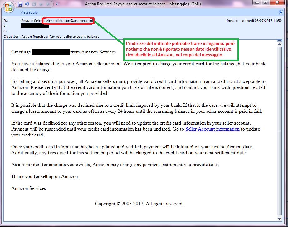Clicca per ingrandire l'immagine della falsa e-mail di AMAZON che chiede di verificare i dati della carta di credito