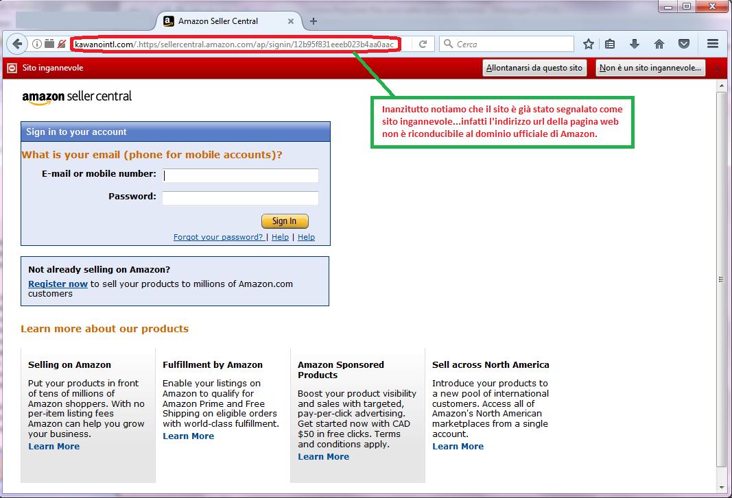 Clicca per ingrandire l'immagine del FALSO sito internet di AMAZON, che cerca di indurre il ricevente a inserire le proprie credenziali di accesso.