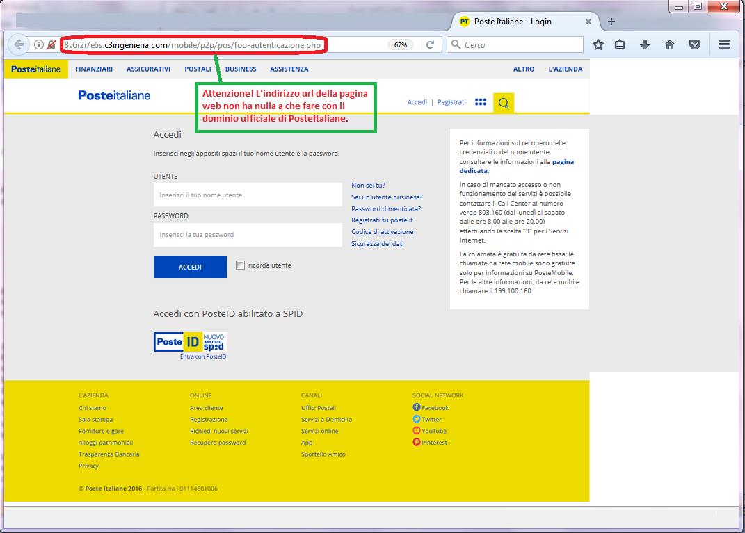 Clicca per ingrandire l'immagine del FALSO form di autenticazione di Poste Italiane, che induce l'ignaro ricevente ad effettuare il login del suo account