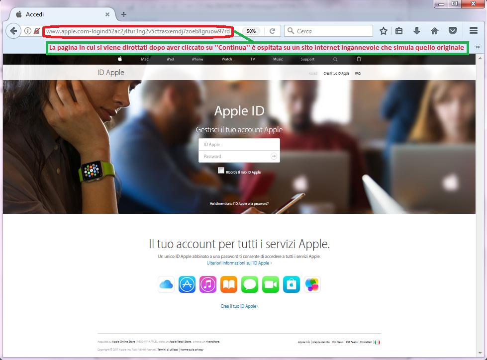 Clicca per ingrandire l'immagine della FALSO sito internet di APPLE, che cerca di indurre il ricevente a cliccare sui link per rubare le credenziali di accesso di Apple ID