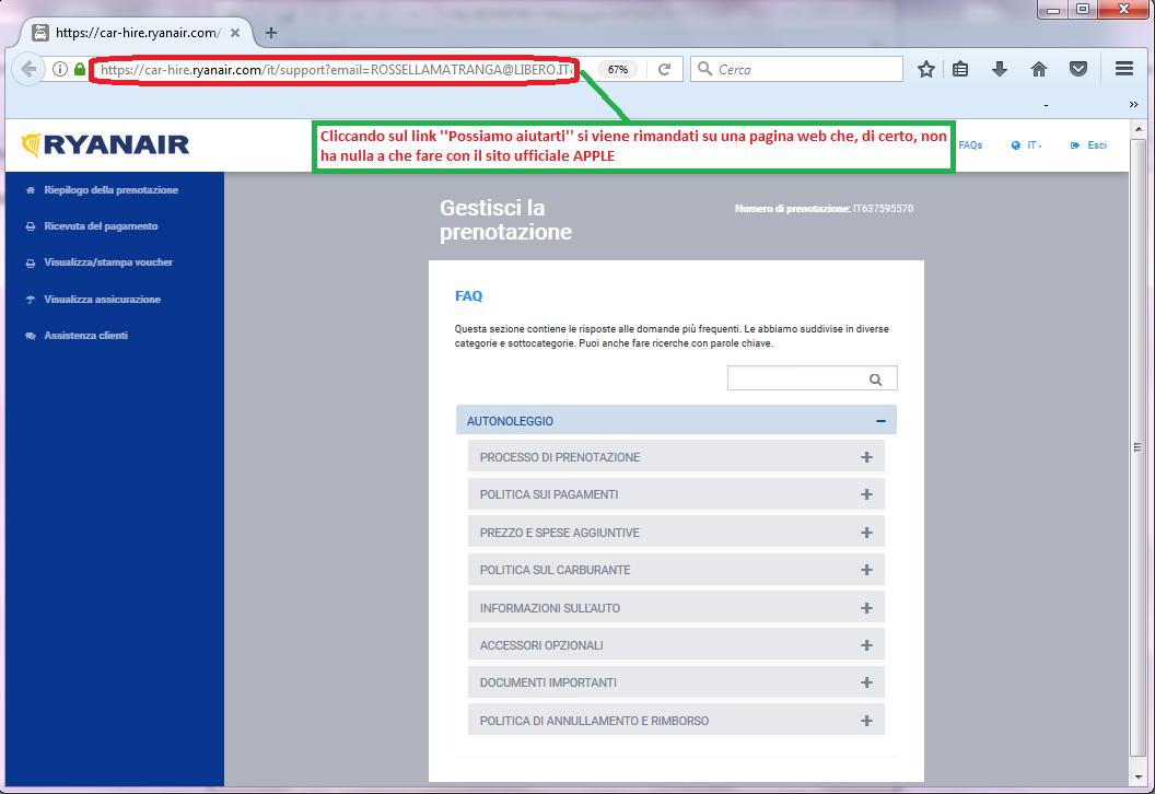 Clicca per ingrandire l'immagine della FALSA pagina web dove si viene dirottati cliccando sul link di fondo alla mail phishing, che non è in alcun modo riconducibile al sito ufficiale di Apple