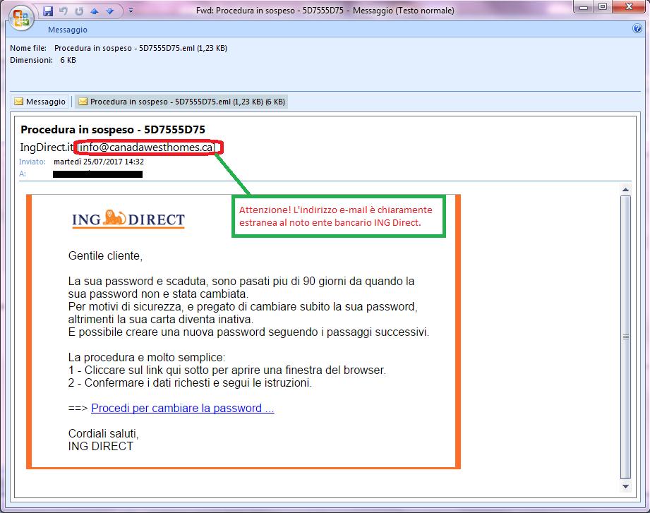 Clicca per ingrandire l'immagine della falsa e-mail di ING DIRECT, che cerca di rubare le credenziali di accesso al conto corrente