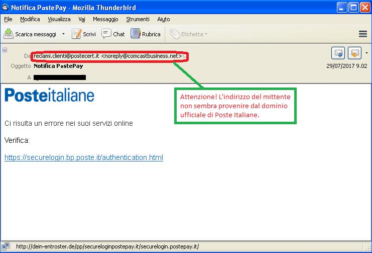 Clicca per ingrandire l'immagine della falsa e-mail di Poste Italiane, che cerca di rubare i codici della PostePay