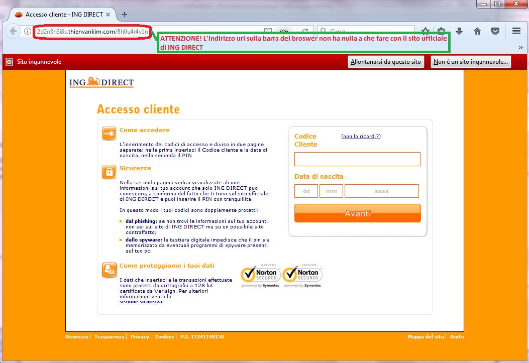 Clicca per ingrandire l'immagine della falsa pagina di ING DIRECT, che cerca di rubare le credenziali di accesso al conto corrente