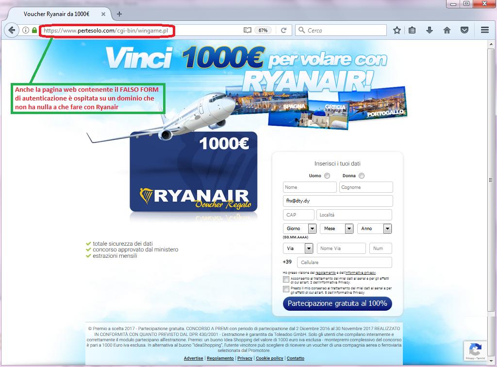 Clicca per ingrandire l'immagine del falso FORM di autenticazione al termine del sondaggio di RYANAIR, che offre come premio un buono 1000€ di voucher RYANAIR  ma che in realtà è una TRUFFA!