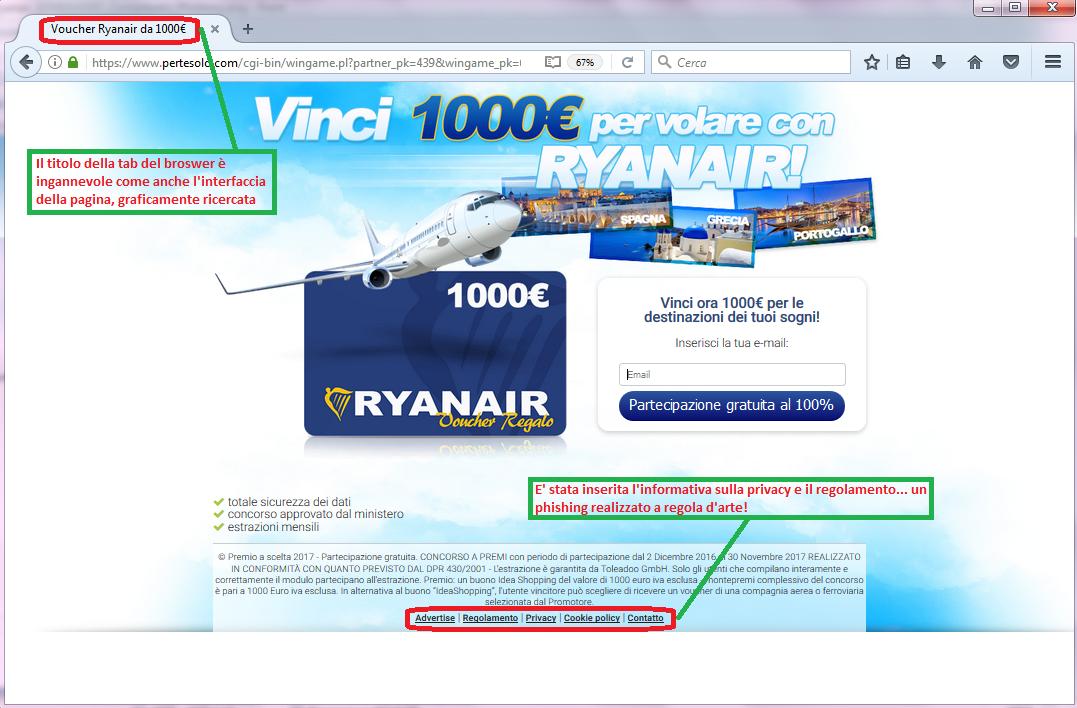 Clicca per ingrandire l'immagine del falso sondaggio di RYANAIR, che offre come premio 1000€ di voucher RYANAIR ma che in realtà è una TRUFFA!