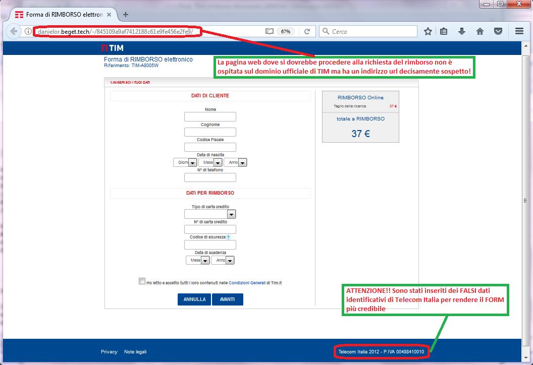 Clicca per ingrandire l'immagine della falsa pagina web di TIM, che cerca di rubare i dati della carta di credito dell'ignaro ricevente.