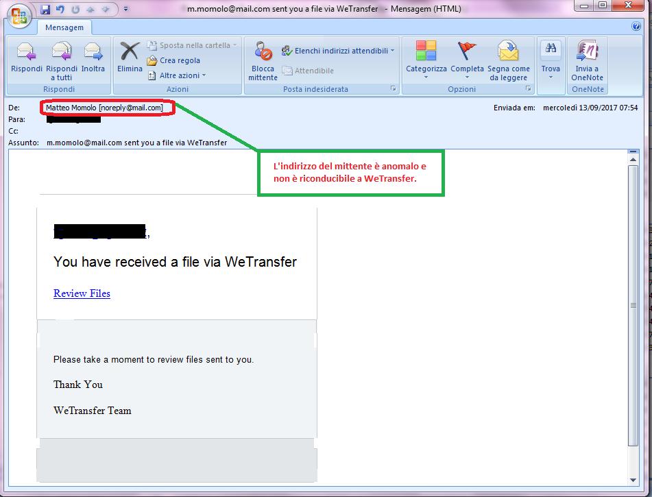 Clicca per ingrandire l'immagine della falsa e-mail di WeTransfer che comunica al destinatario di aver ricevuto un file sulla sua casella di posta elettronica.
