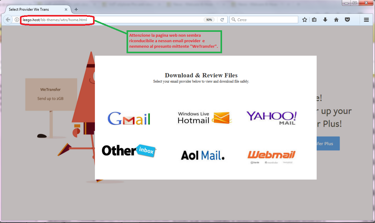 Clicca per ingrandire l'immagine della pagina web di WeTransfer, che richiede di selezionare il proprio provider email.
