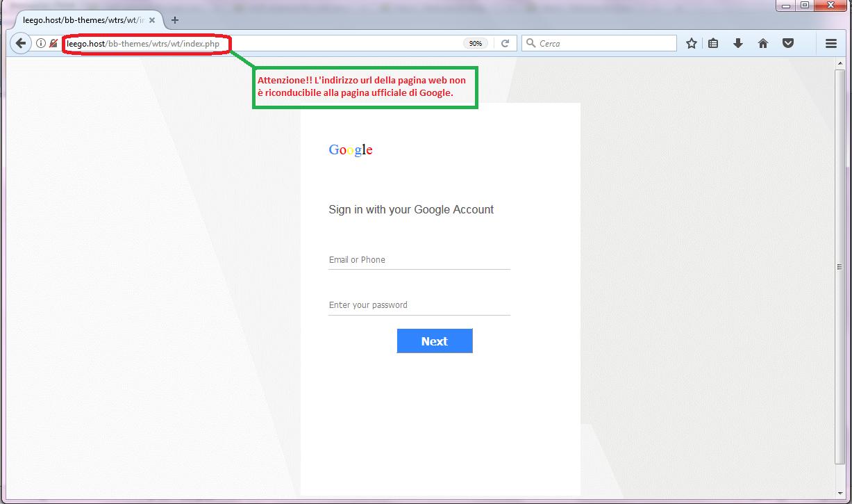 Clicca per ingrandire l'immagine del falso FORM di autenticazione di GOOGLE ACCOUNT, che invita l'utente ad inserire i suoi dati per poter scaricare il file ricevuto da WeTransfer, ma che in realtà è una TRUFFA!