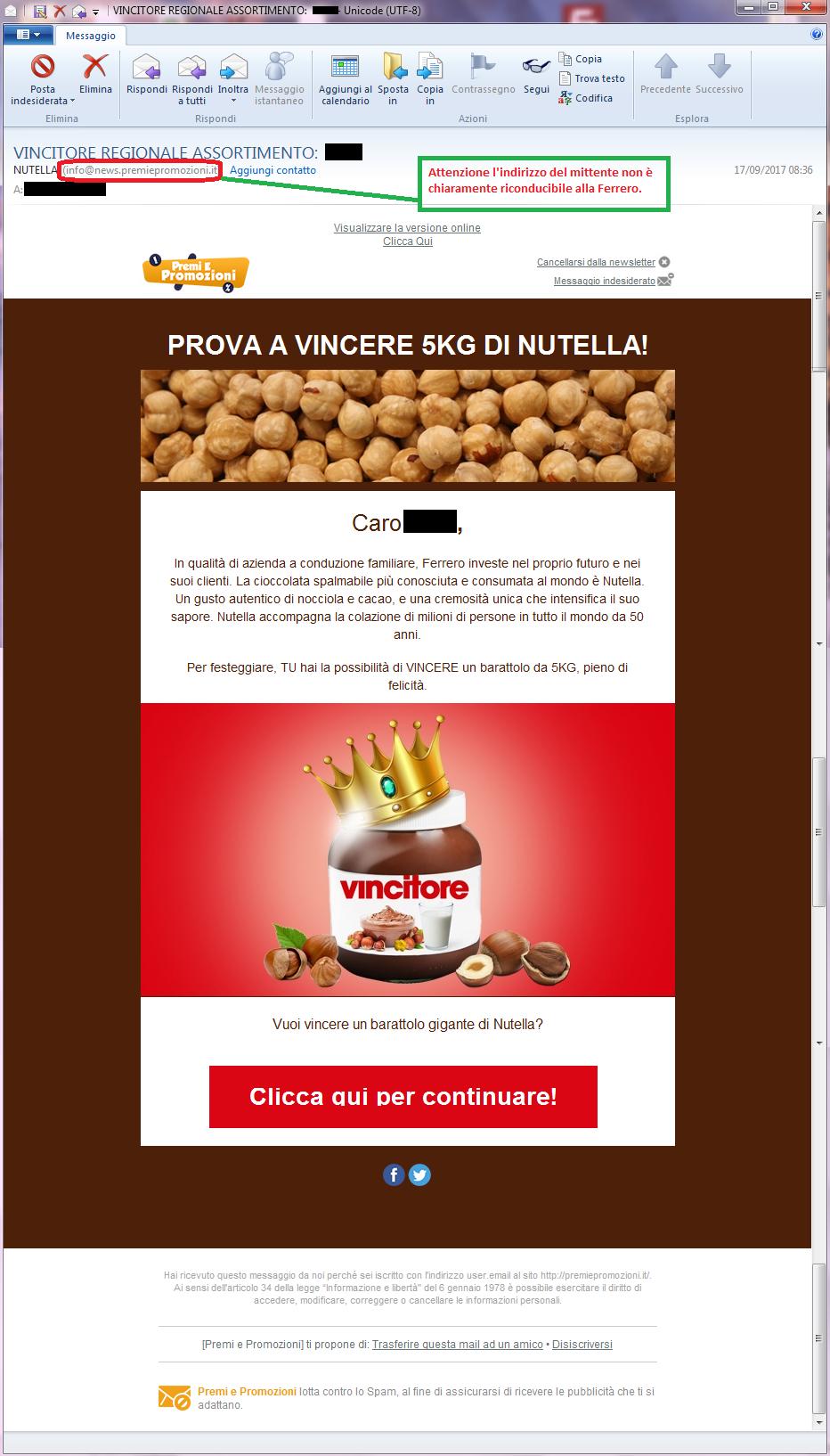 Clicca per ingrandire l'immagine della falsa e-mail di FERRERO che offre la possibilità di vincere un barattolo di Nutella ma che in realtà è una TRUFFA!