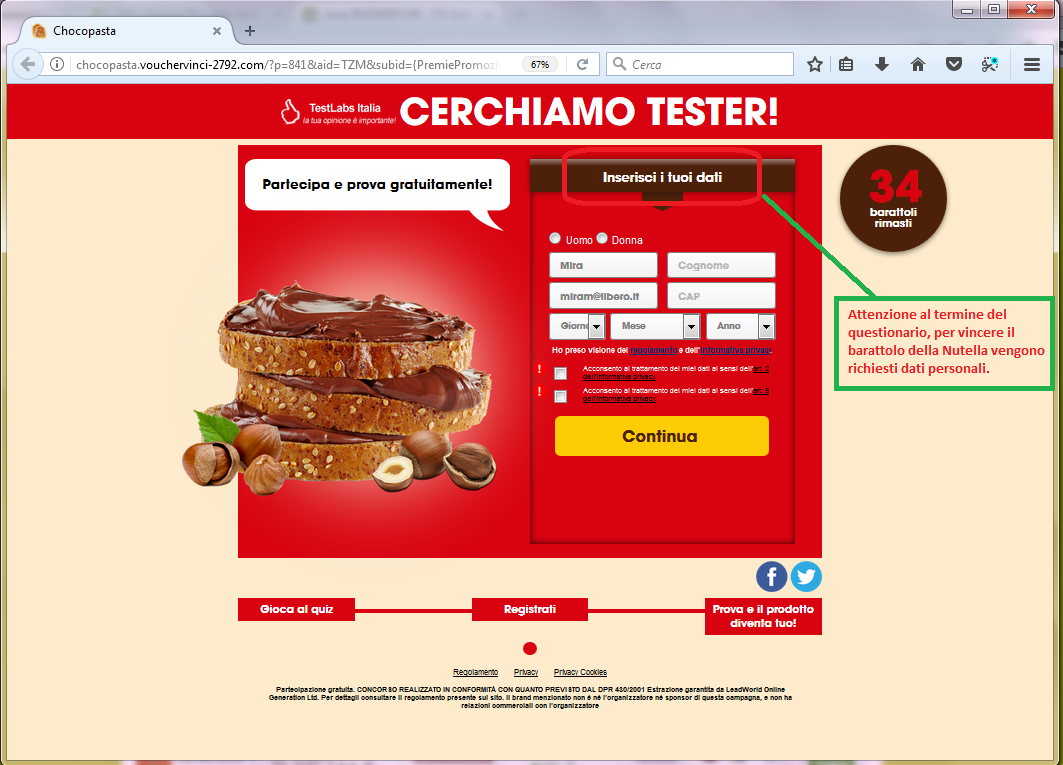 Clicca per ingrandire l'immagine del falso FORM di autenticazione di FERRERO che invita l'utente ad inserire i suoi dati per poter partecipare all'estrazione del barattolo di Nutella ma che in realtà è una TRUFFA!