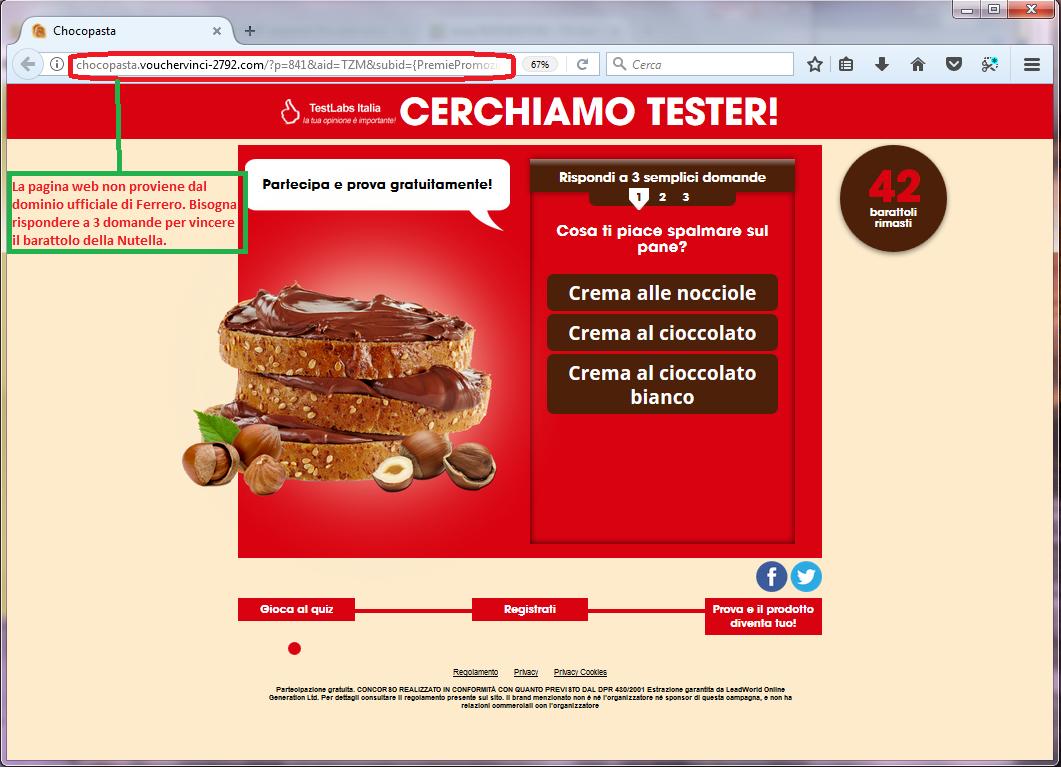 Clicca per ingrandire l'immagine del falso sondaggio di FERRERO, che offre come premio un barattolo da 5 kg della Nutella ma che in realtà è una TRUFFA!