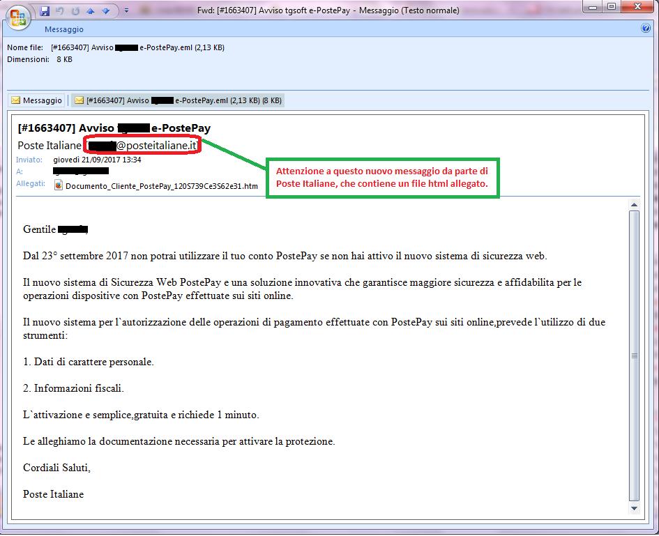 Clicca per ingrandire l'immagine della falsa e-mail di POSTE ITALIANE, che cerca di rubare i codici della PostePay dell'ignaro ricevente