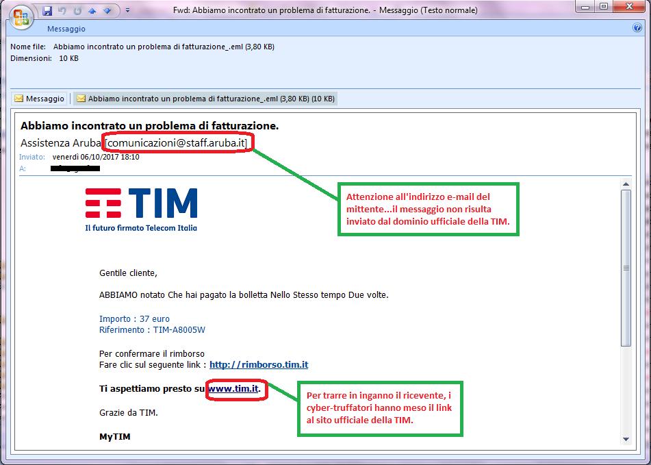 Clicca per ingrandire l'immagine della falsa e-mail di TIM, che informa l'ignaro ricevente della possibilità di ricevere un rimborso,ma che in realtà è una TRUFFA