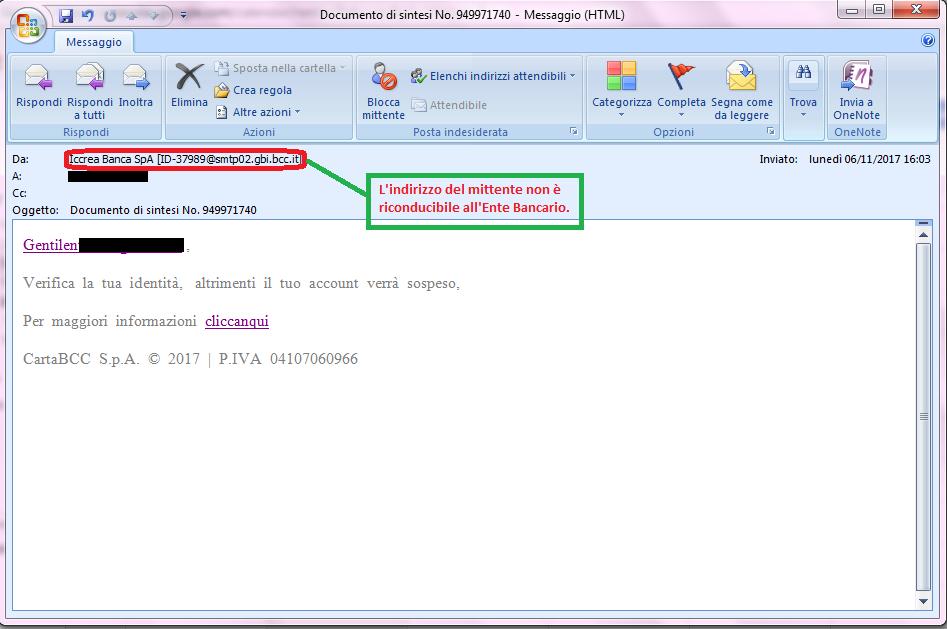 Clicca per ingrandire l'immagine della falsa e-mail di ICCREA BANCA, che cerca di indurre il ricevente a cliccare sui link per rubare le credenziali di accesso della carta BCC.