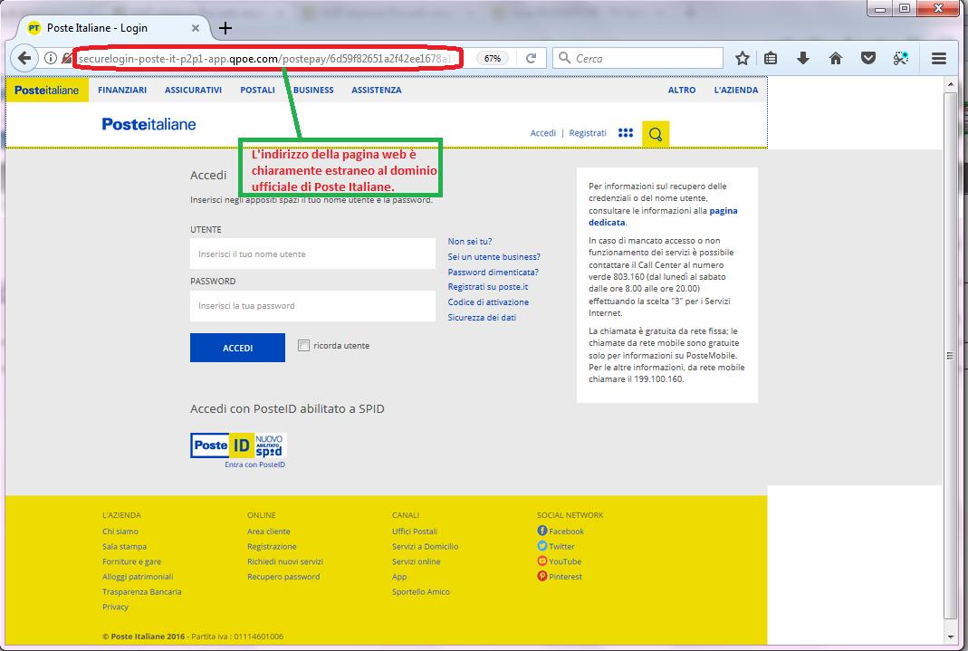 Clicca per ingrandire l'immagine del FALSO form di autenticazione di Poste Italiane, che induce l'ignaro ricevente ad inserire i dati della sua carta PostePay