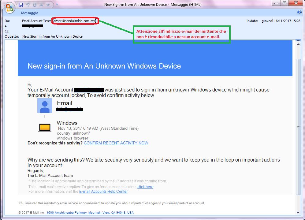 Clicca per ingrandire l'immagine della falsa e-mail del team dell'Account e-mail, che cerca di indurre il ricevente a cliccare sui link per rubare le credenziali di accesso all'indirizzo di posta elettronica.