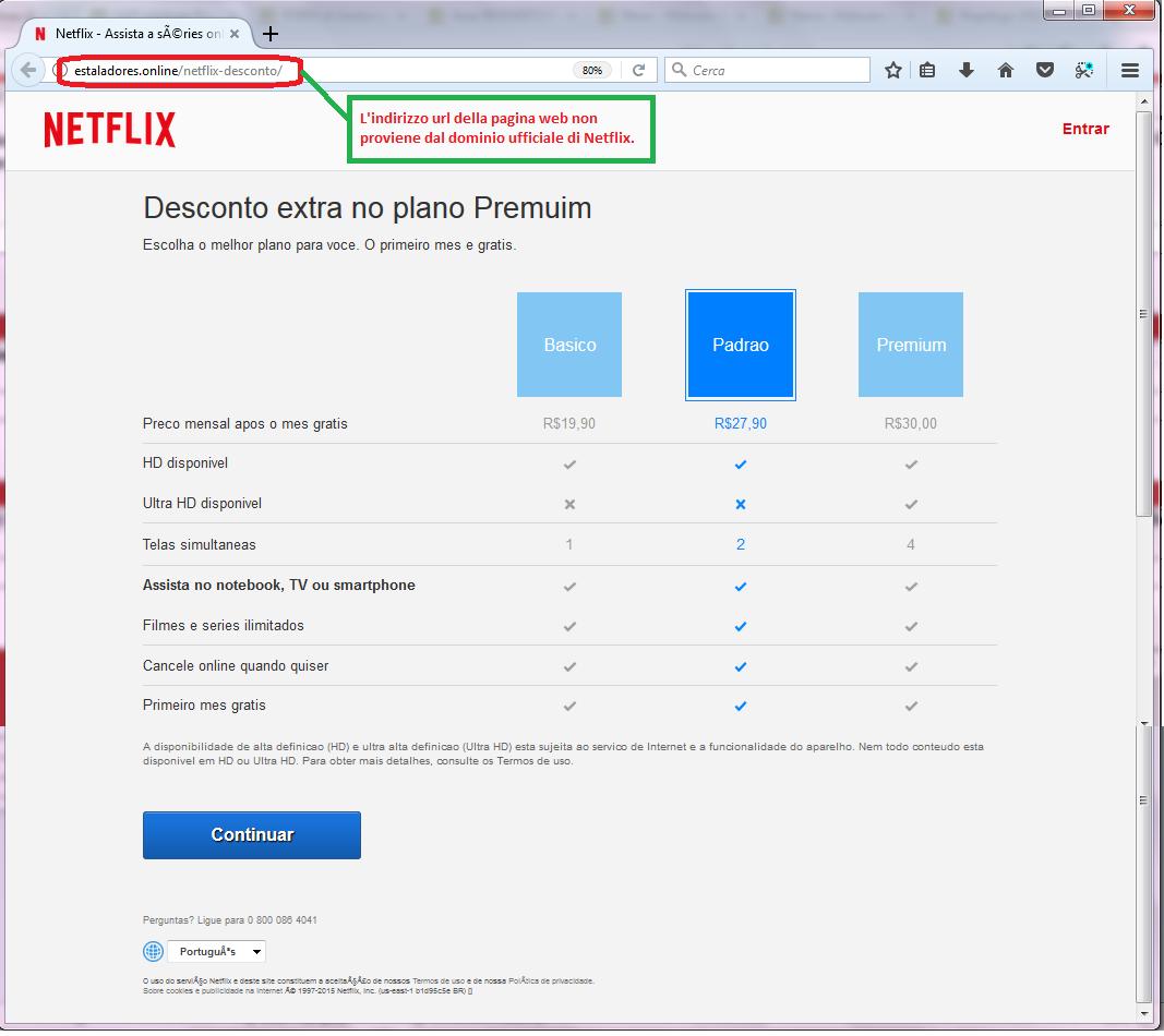 Clicca per ingrandire l'immagine della falsa pagina di Netflix, che offre la possibilità di ottenere un mese in più di abbonamento ma che in realtà è una TRUFFA!
