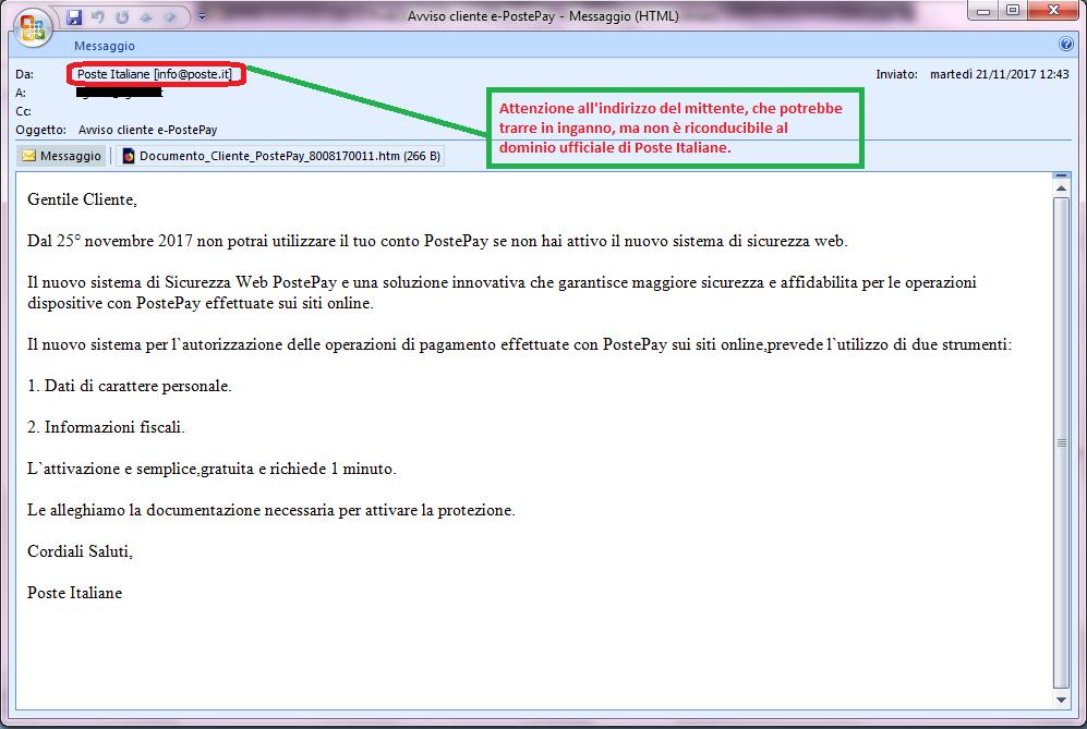 Clicca per ingrandire l'immagine della falsa e-mail di PostePay, che cerca di indurre il ricevente a scaricare il documento allegato per rubare le credenziali di accesso alla sua carta PostePay.