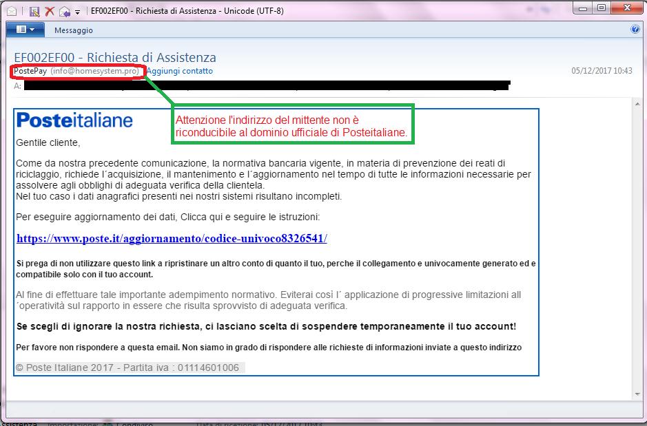 Clicca per ingrandire l'immagine della falsa e-mail di POSTE ITALIANE, che cerca di rubare i codici di accesso all'account dell'ignaro ricevente.