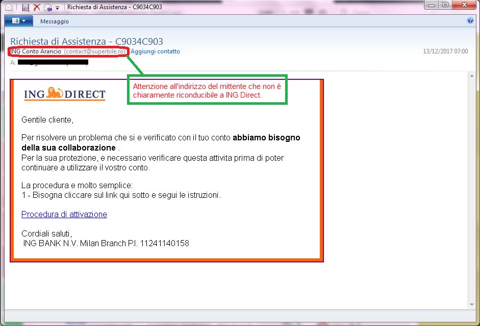 Clicca per ingrandire l'immagine della falsa e-mail di ING DIRECT che cerca di rubare i codici del conto corrente dell'ignaro ricevente