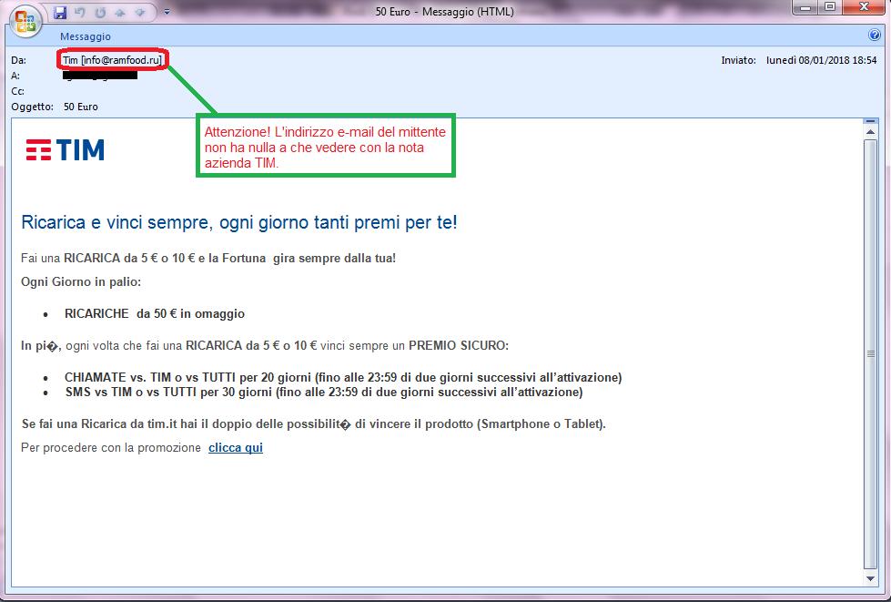 Clicca per ingrandire l'immagine della falsa e-mail di TIM, che informa l'ignaro ricevente della possibilità di ricevere 50 Euro di ricariche in OMAGGIO, ma che in realtà è una TRUFFA