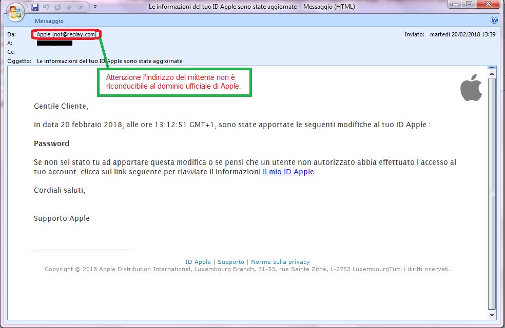 Clicca per ingrandire l'immagine della falsa e-mail di APPLE, che cerca di indurre il ricevente a cliccare sui link per rubare le credenziali di accesso di Apple ID