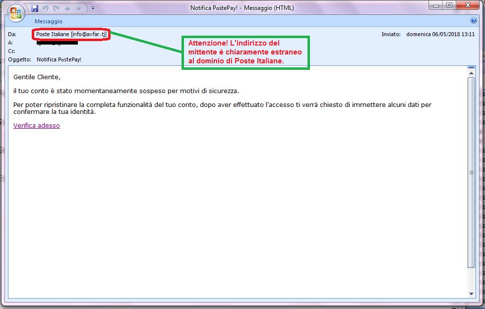 Clicca per ingrandire l'immagine della falsa e-mail di Poste Italiane, che cerca di rubare i codici della PostePay.