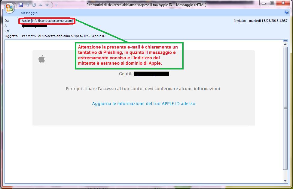 Clicca per ingrandire l'immagine della falsa e-mail di APPLE, che cerca di indurre il ricevente a cliccare sul link per rubare le credenziali di accesso di Apple ID.