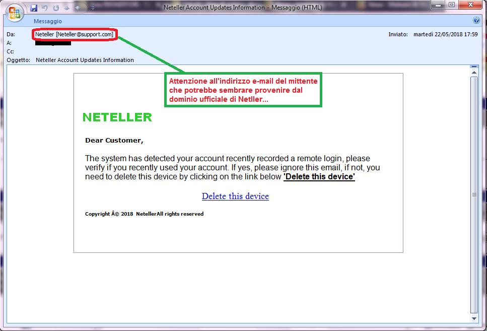 Clicca per ingrandire l'immagine della falsa e-mail di Neteller, che cerca di rubare le credenziali del servizio.