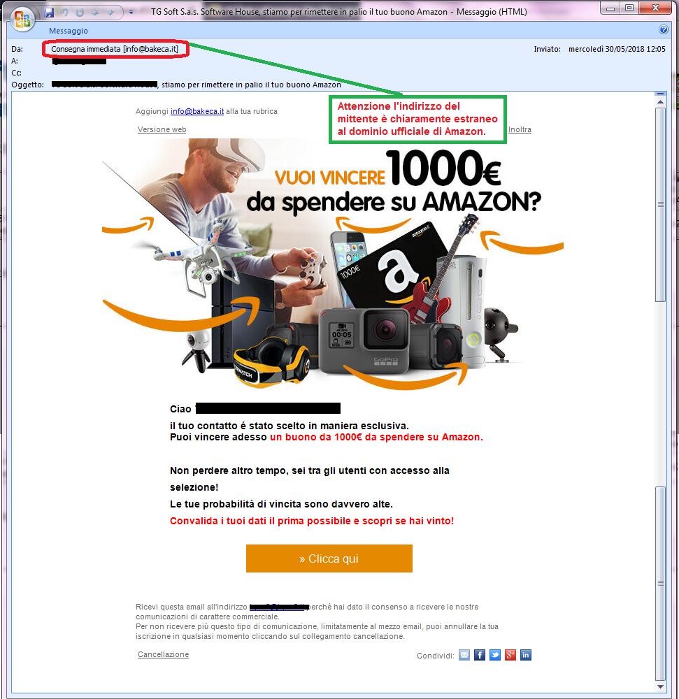 Clicca per ingrandire l'immagine della falsa e-mail di AMAZON che offre la possibilità di vincere un buono di 1000€ ma in realtà è una TRUFFA!