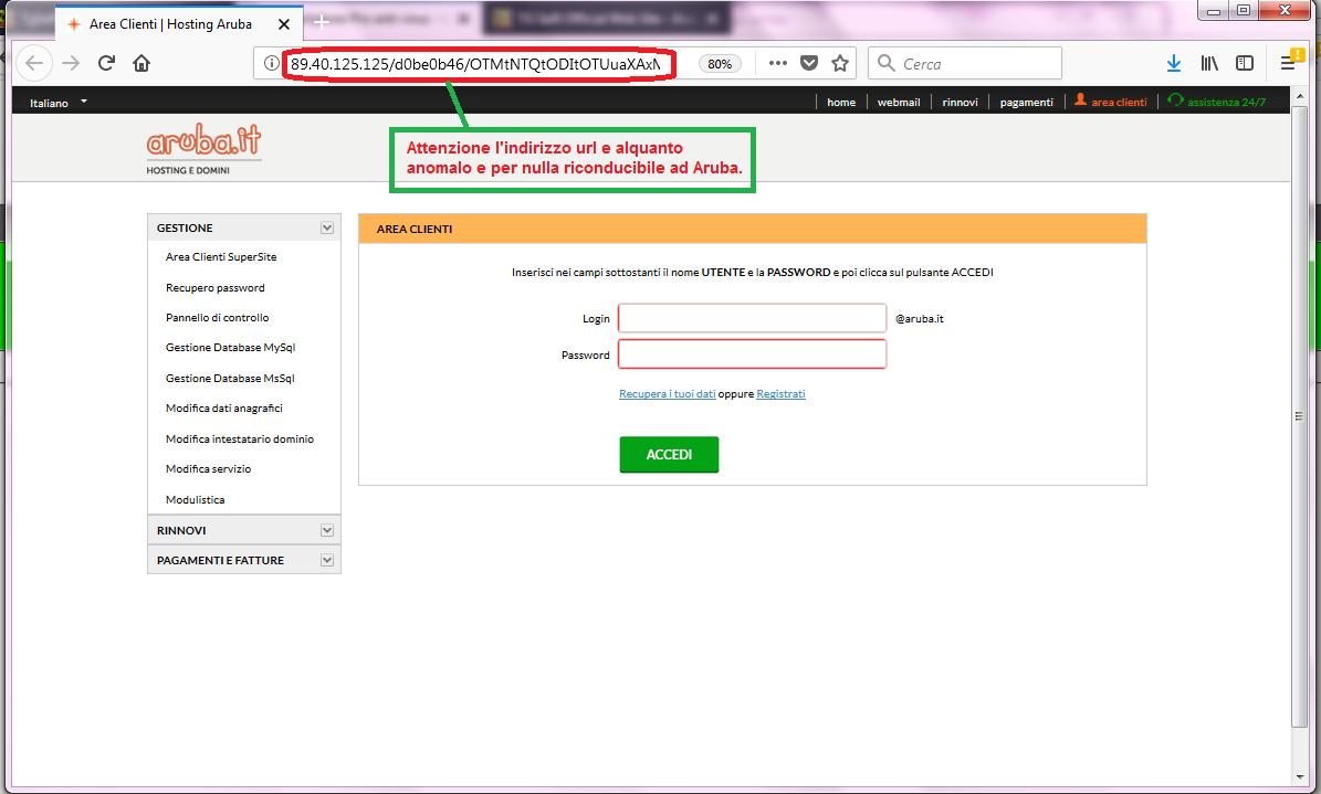 Clicca per ingrandire l'immagine della FALSA  falsa pagina web, non riconducibile ad Aruba.