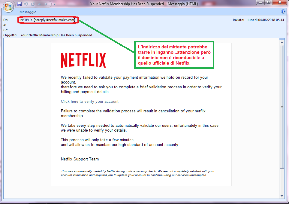 Clicca per ingrandire l'immagine della falsa e-mail di Netflix, che cerca di rubare i codici della carta di credito dell'ignaro ricevente