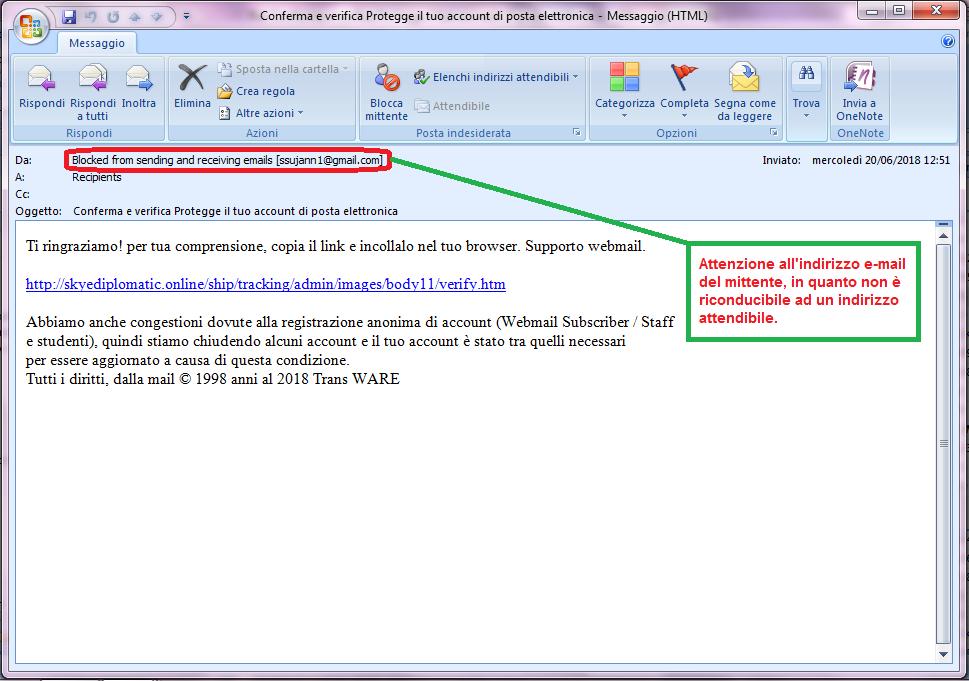 Clicca per ingrandire l'immagine della falsa e-mail del servizio di supporto webmail, che cerca di rubare le password di accesso all'e-mail..