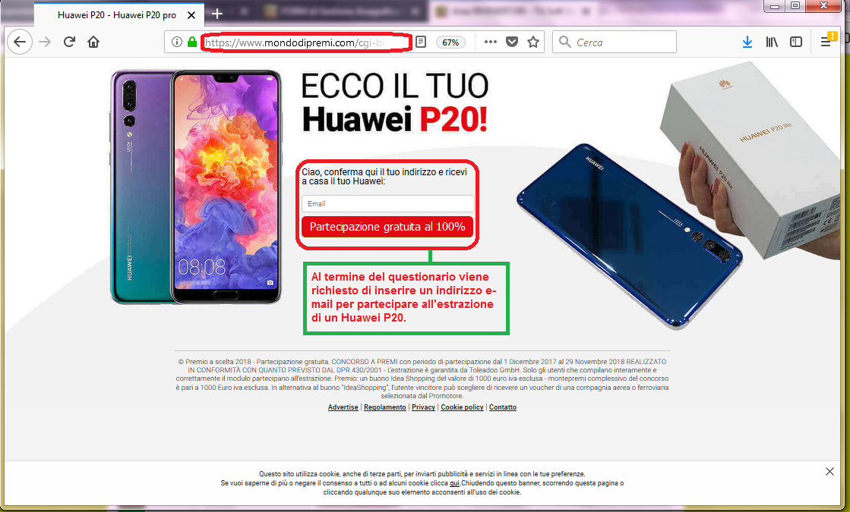 Clicca per ingrandire l'immagine del completamento del sondaggio di Huawei che offre come premio un Huawei P10 ma che in realtà è una TRUFFA!