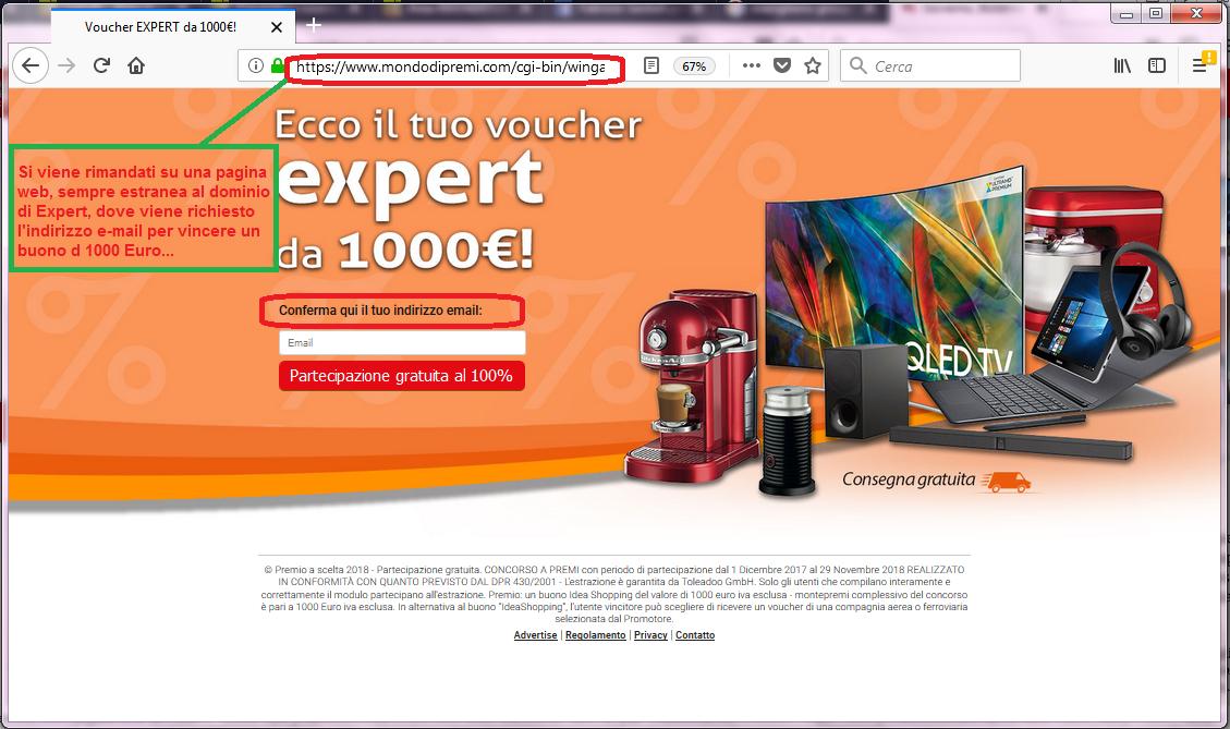 Clicca per ingrandire l'immagine del completamento del sondaggio di Expert che offre come premio un buono da 1000€ ma che in realtà è una TRUFFA!