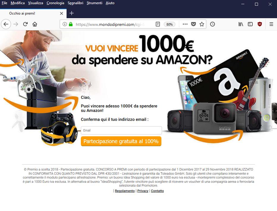 Clicca per ingrandire l'immagine del falso sondaggio di AMAZON, che offre come premio un buono dal valore di 1000€ ma che in realtà è una TRUFFA!